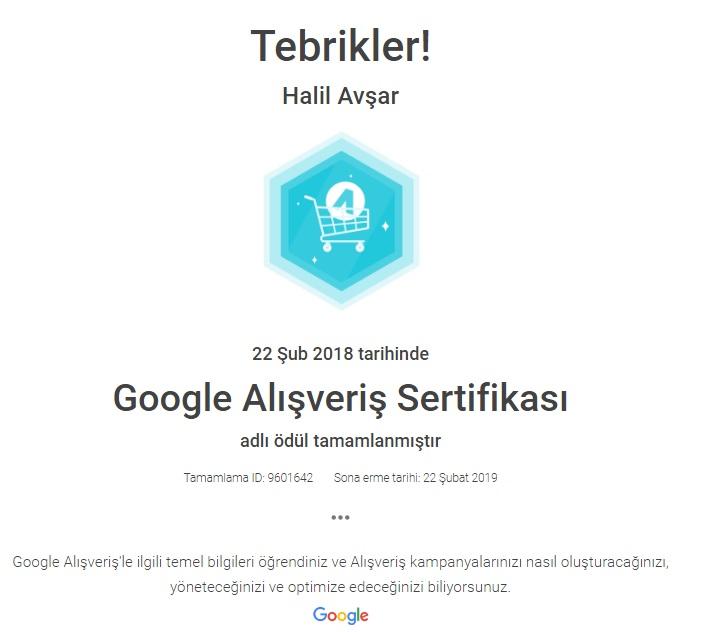 Google Adwords Alışveriş Sertifikası