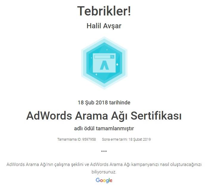 Google Adwords Arama Ağı Sertifikası