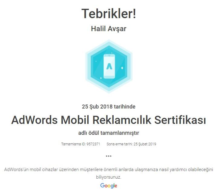 Google Adwords Mobil Reklamcılık Sertifikası