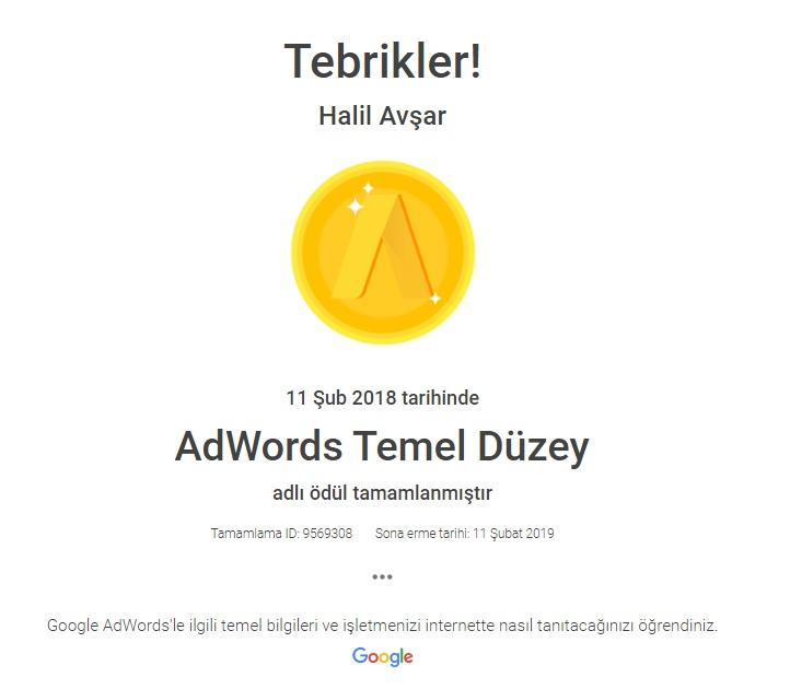 Google Adwords Temel Düzey Sertifikası